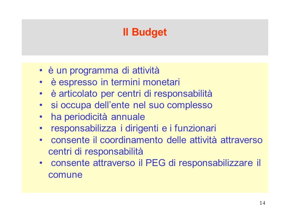 Il Budget è un programma di attività è espresso in termini monetari