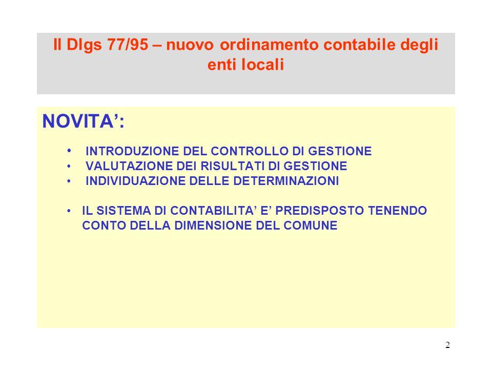 Il Dlgs 77/95 – nuovo ordinamento contabile degli enti locali