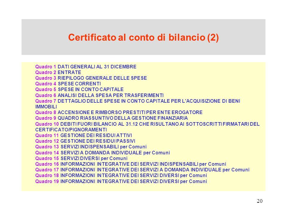 Certificato al conto di bilancio (2)