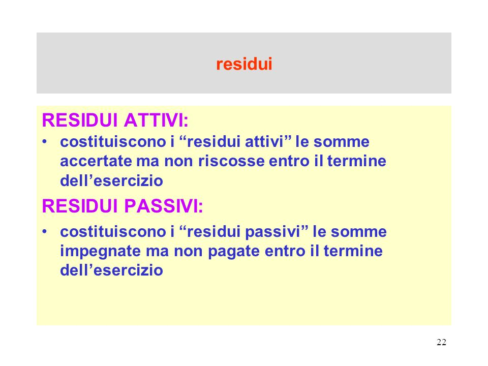 RESIDUI ATTIVI: RESIDUI PASSIVI: residui