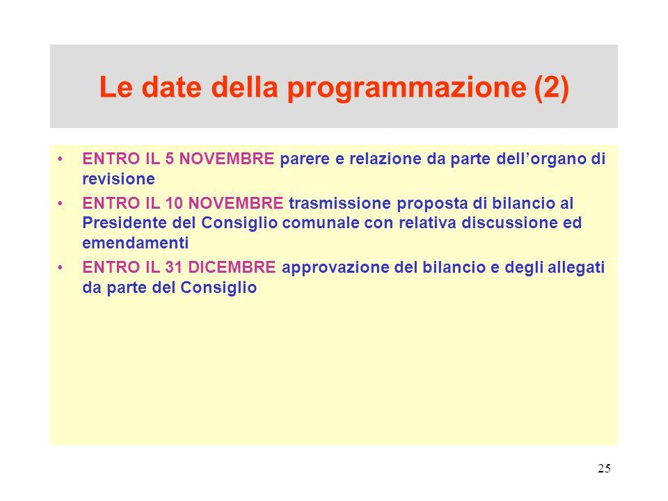Le date della programmazione (2)