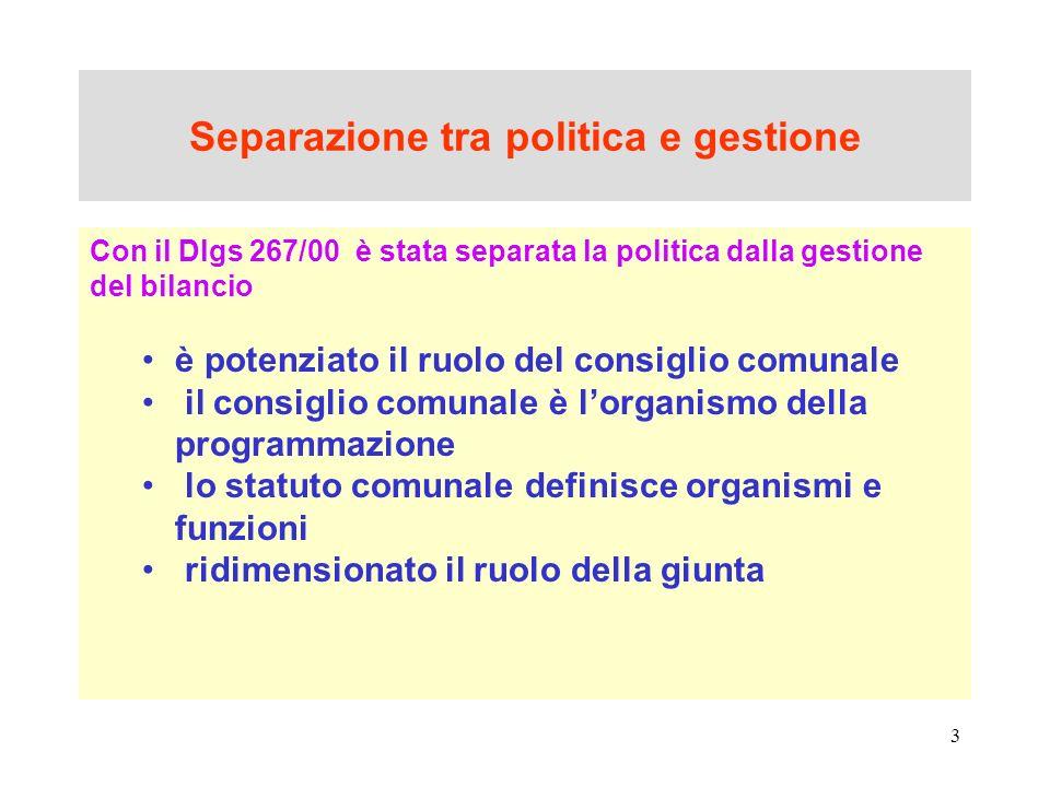 Separazione tra politica e gestione