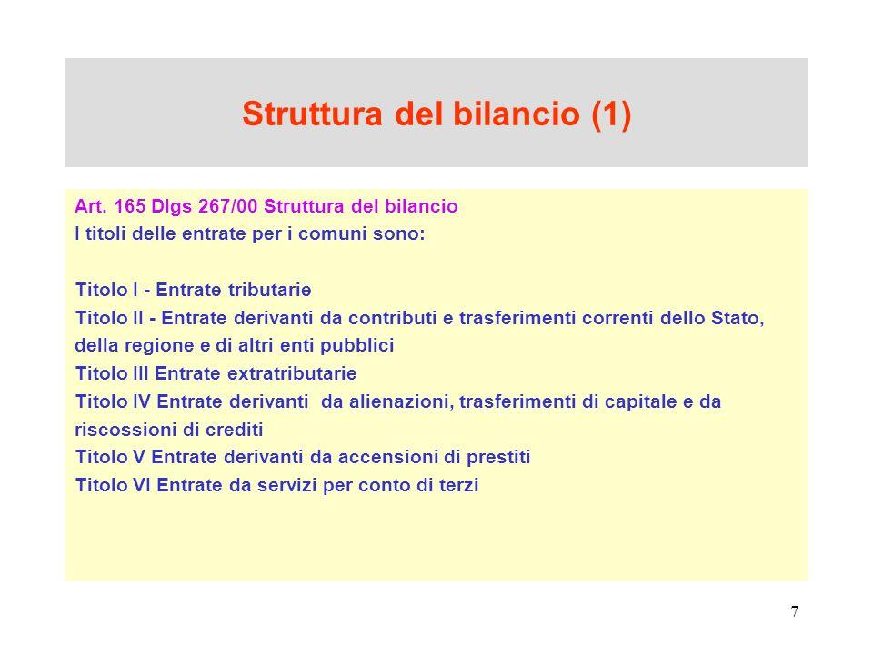 Struttura del bilancio (1)