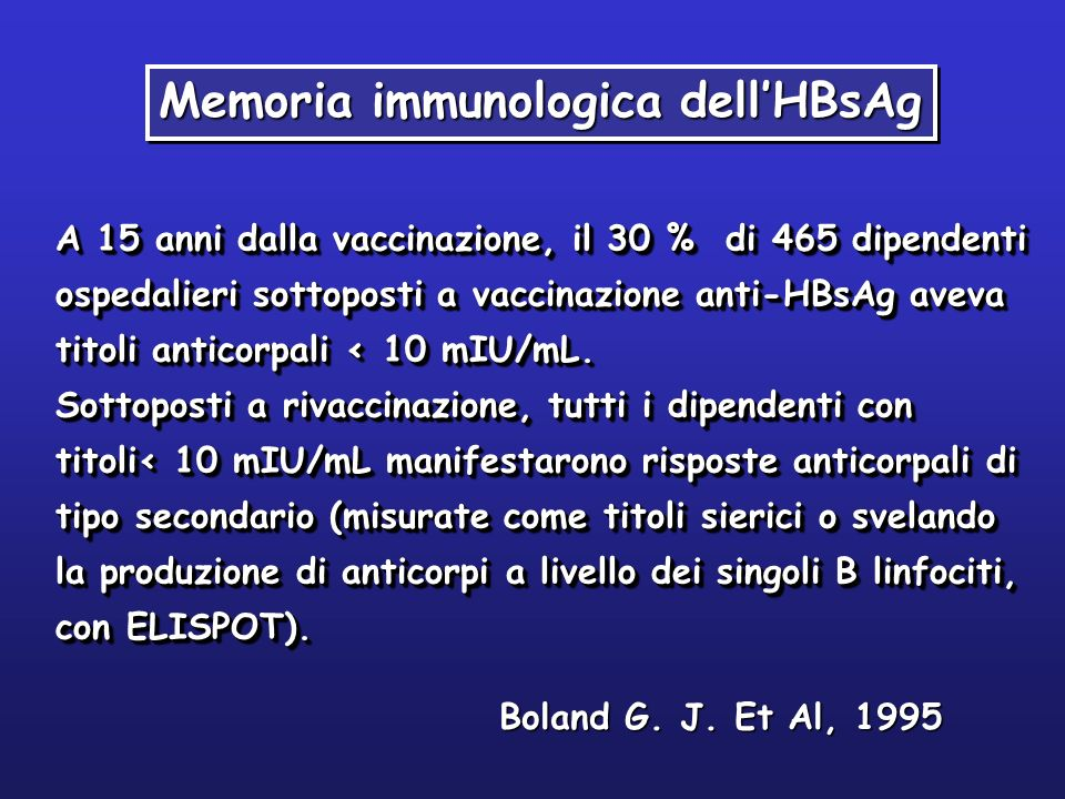 Memoria immunologica dell'HBsAg