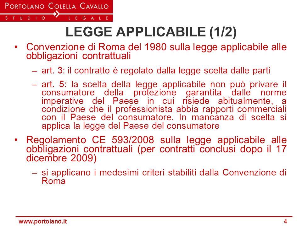 LEGGE APPLICABILE (1/2) Convenzione di Roma del 1980 sulla legge applicabile alle obbligazioni contrattuali.