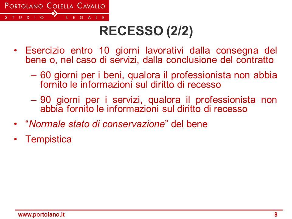 RECESSO (2/2) Esercizio entro 10 giorni lavorativi dalla consegna del bene o, nel caso di servizi, dalla conclusione del contratto.