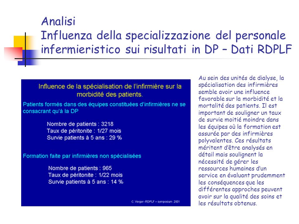 Analisi Influenza della specializzazione del personale infermieristico sui risultati in DP – Dati RDPLF