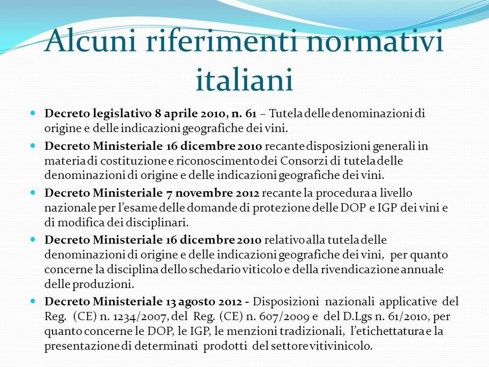 Alcuni riferimenti normativi italiani