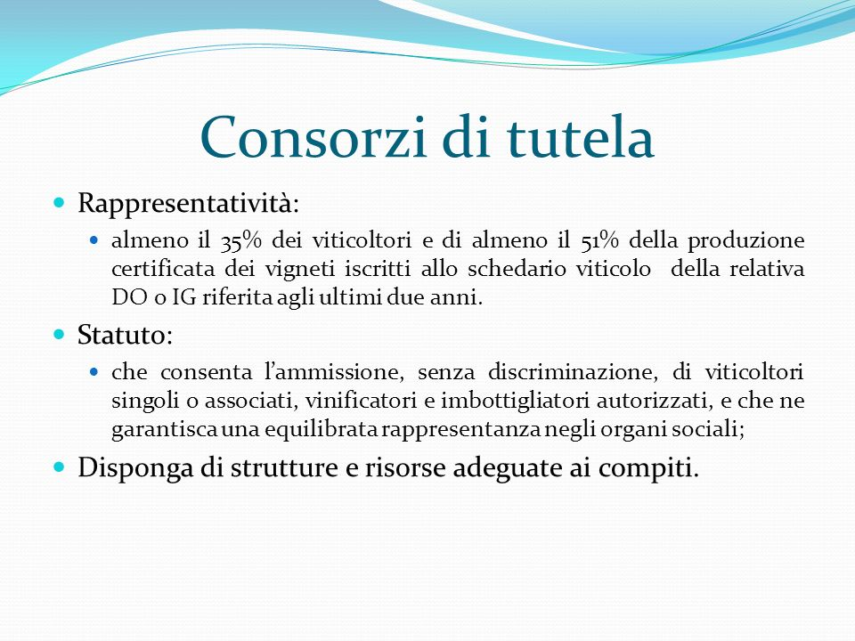 Consorzi di tutela Rappresentatività: Statuto: