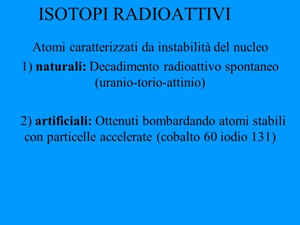 ISOTOPI RADIOATTIVI Atomi caratterizzati da instabilità del nucleo