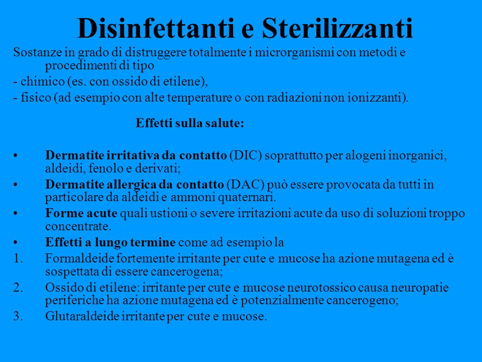 Disinfettanti e Sterilizzanti