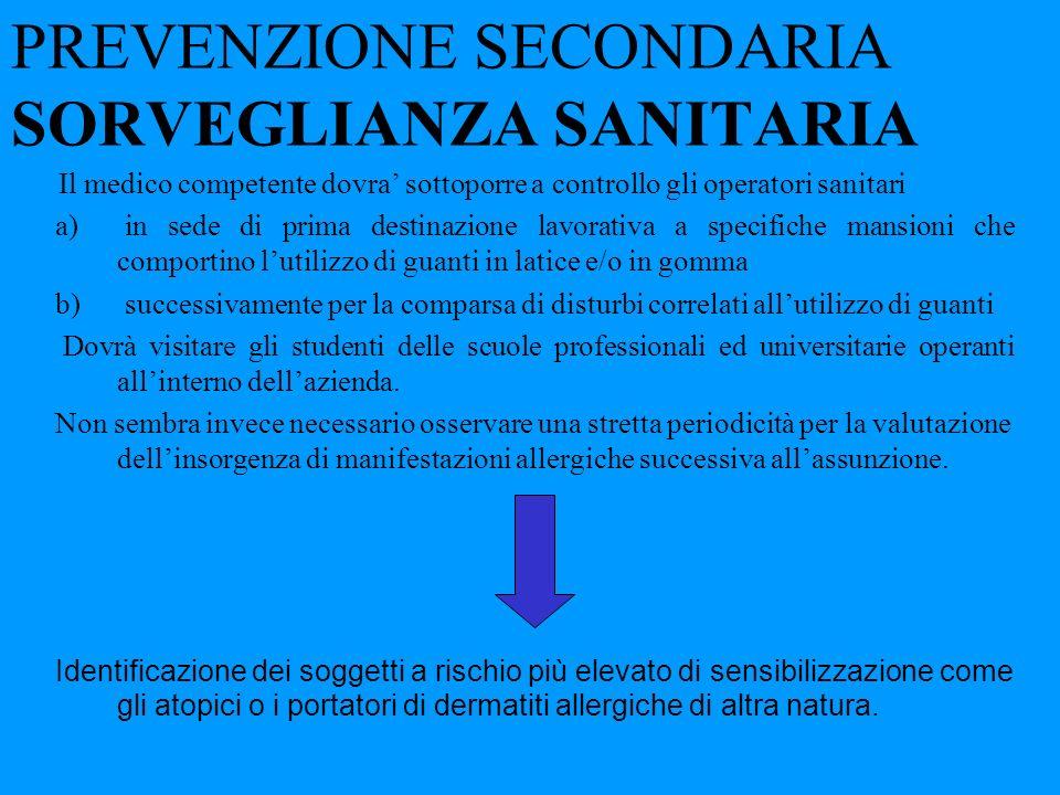 PREVENZIONE SECONDARIA SORVEGLIANZA SANITARIA