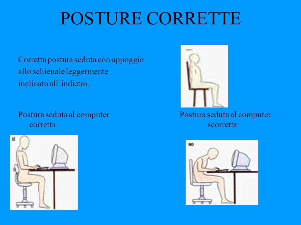 POSTURE CORRETTE Corretta postura seduta con appoggio