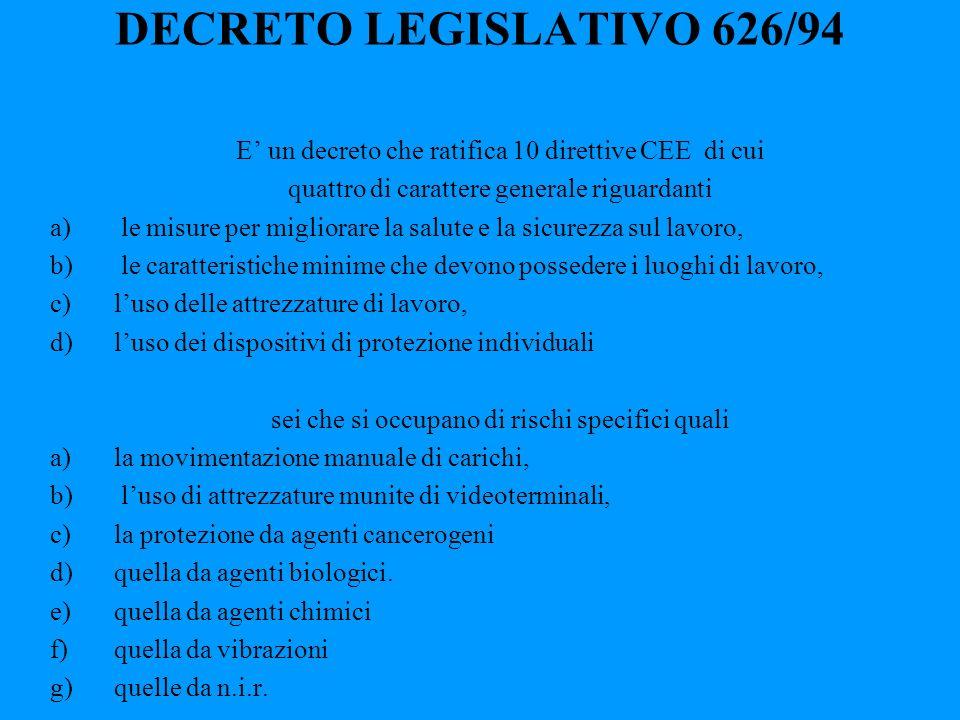 DECRETO LEGISLATIVO 626/94 E' un decreto che ratifica 10 direttive CEE di cui. quattro di carattere generale riguardanti.