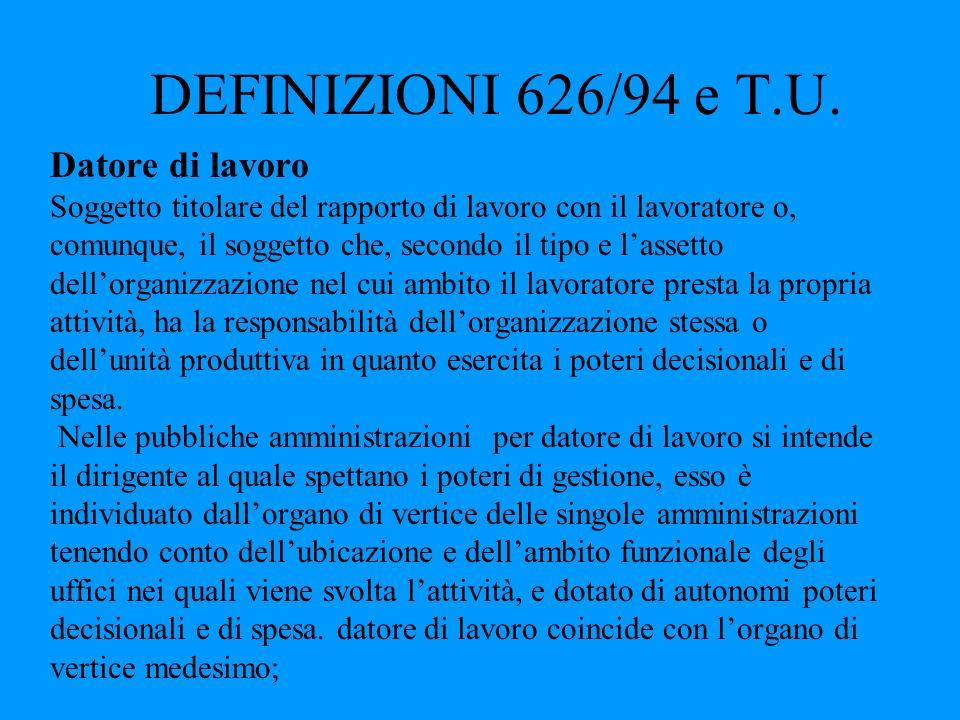 DEFINIZIONI 626/94 e T.U. Datore di lavoro