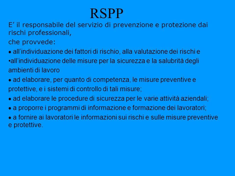 RSPP E' il responsabile del servizio di prevenzione e protezione dai rischi professionali, che provvede: