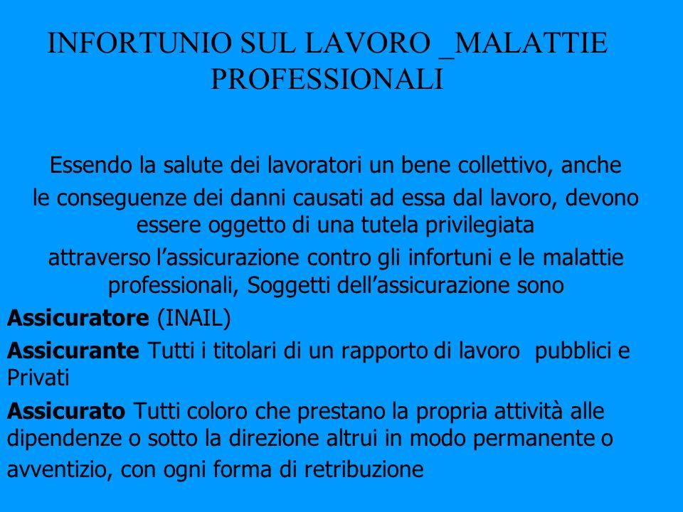 INFORTUNIO SUL LAVORO _MALATTIE PROFESSIONALI