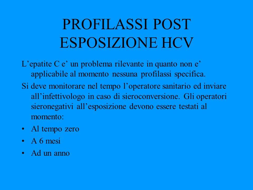 PROFILASSI POST ESPOSIZIONE HCV