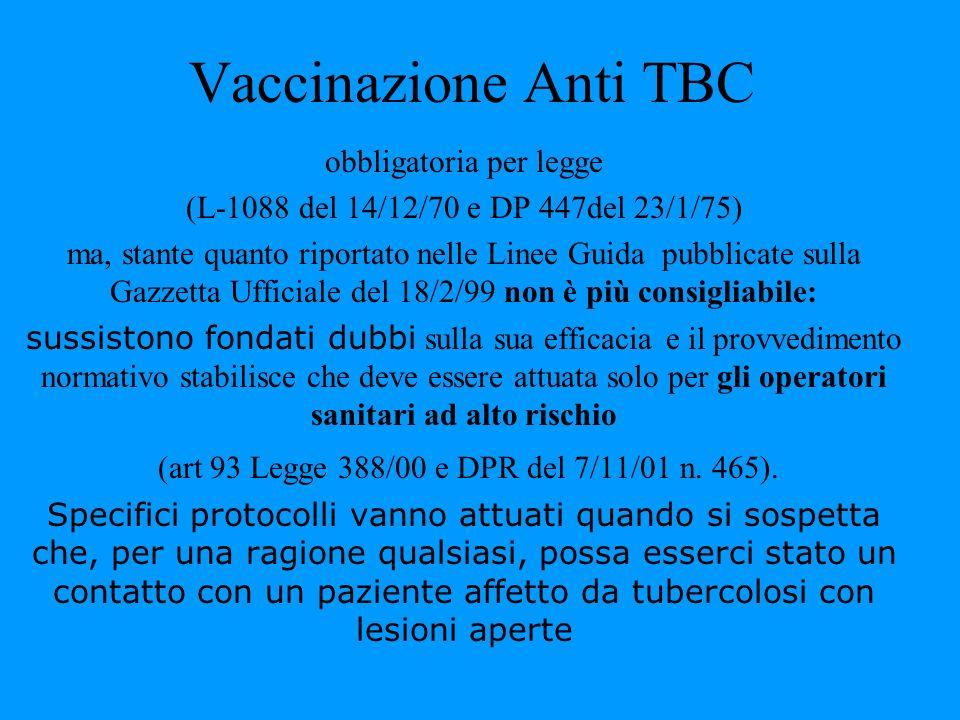 Vaccinazione Anti TBC obbligatoria per legge