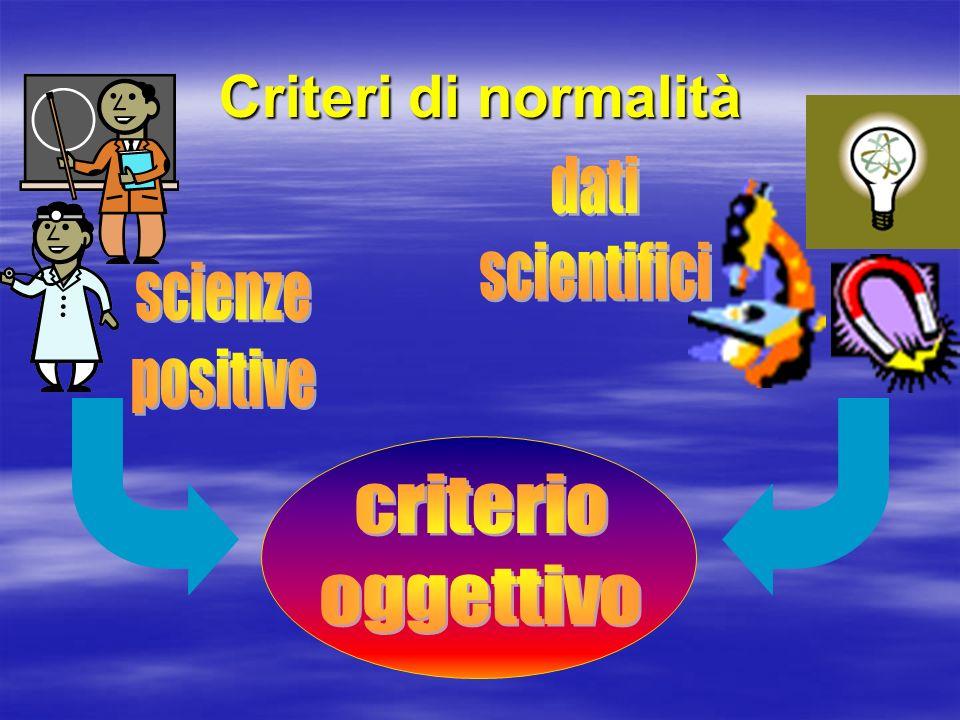 Criteri di normalità dati scientifici scienze positive criterio
