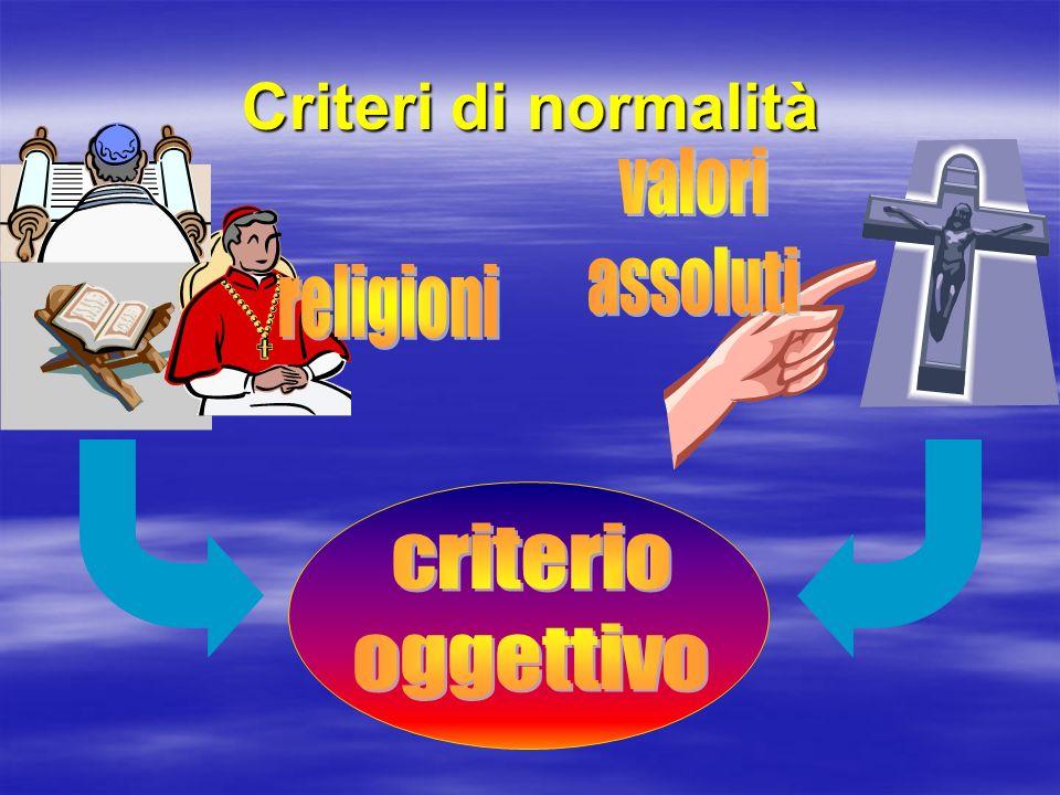 Criteri di normalità valori assoluti religioni criterio oggettivo