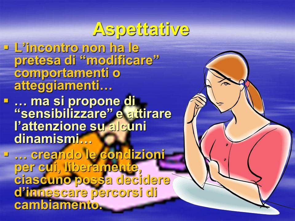 Aspettative L'incontro non ha le pretesa di modificare comportamenti o atteggiamenti…