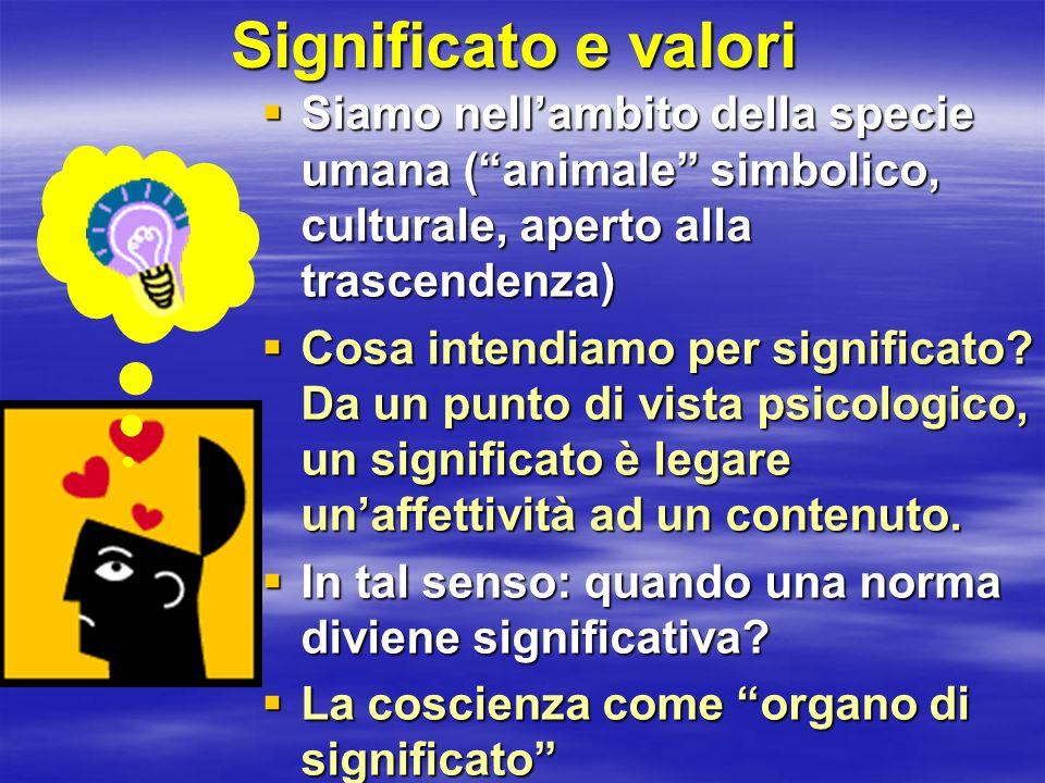 Significato e valori Siamo nell'ambito della specie umana ( animale simbolico, culturale, aperto alla trascendenza)