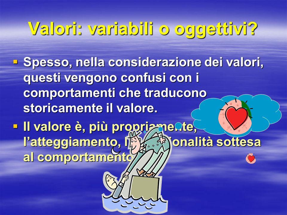 Valori: variabili o oggettivi