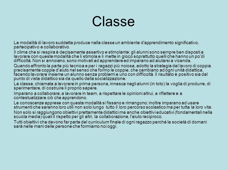 Classe La modalità di lavoro suddetta produce nella classe un ambiente d apprendimento significativo, partecipativo e collaborativo.