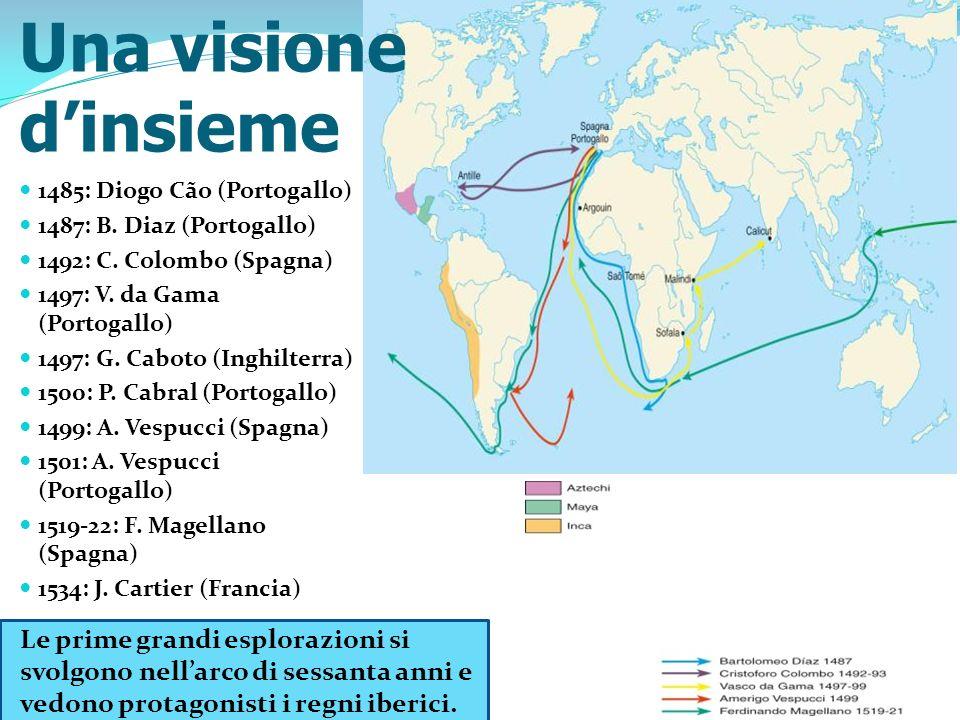 Una visione d'insieme 1485: Diogo Cão (Portogallo) 1487: B. Diaz (Portogallo) 1492: C. Colombo (Spagna)
