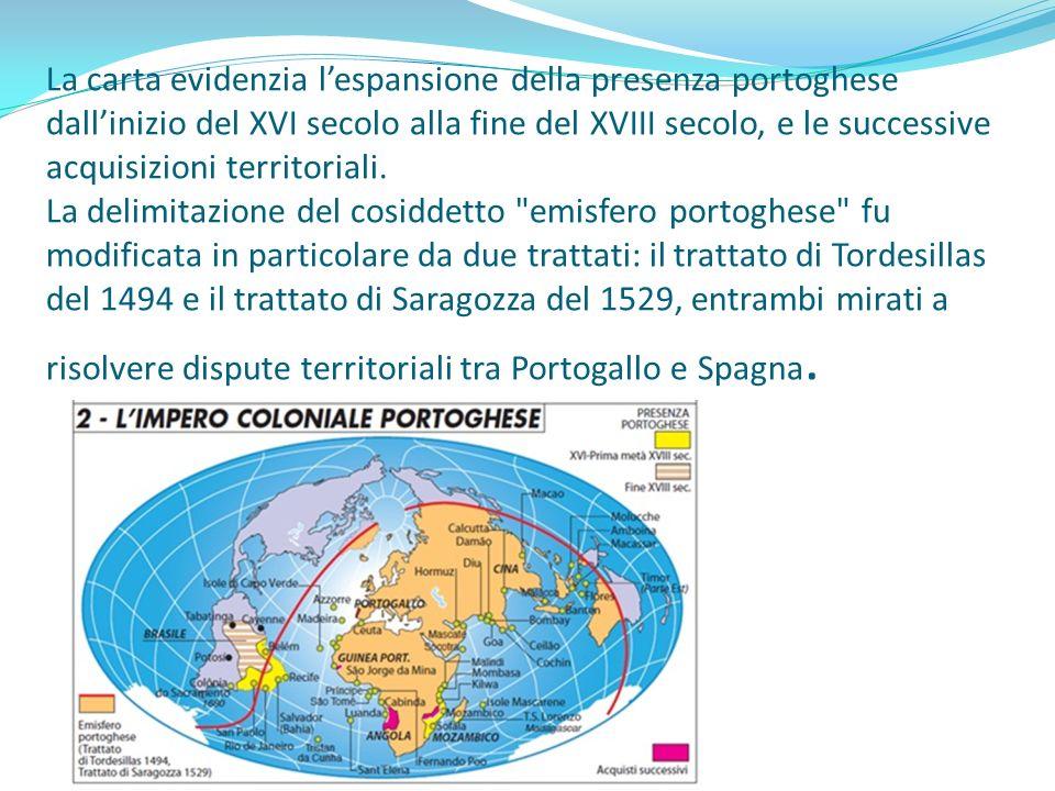 La carta evidenzia l'espansione della presenza portoghese dall'inizio del XVI secolo alla fine del XVIII secolo, e le successive acquisizioni territoriali.