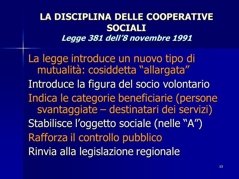 LA DISCIPLINA DELLE COOPERATIVE SOCIALI Legge 381 dell'8 novembre 1991