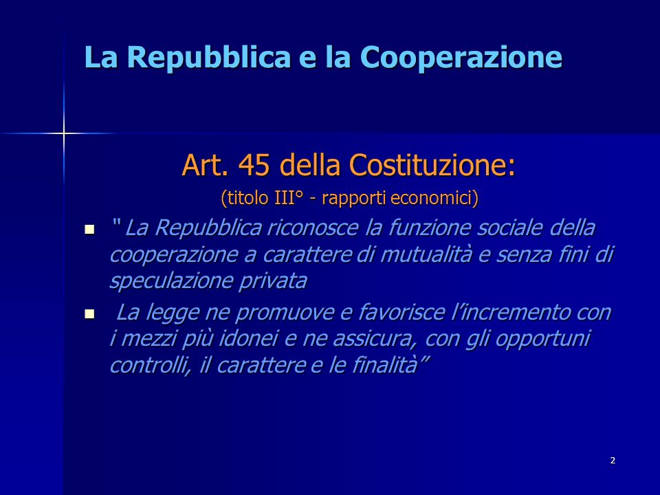 La Repubblica e la Cooperazione