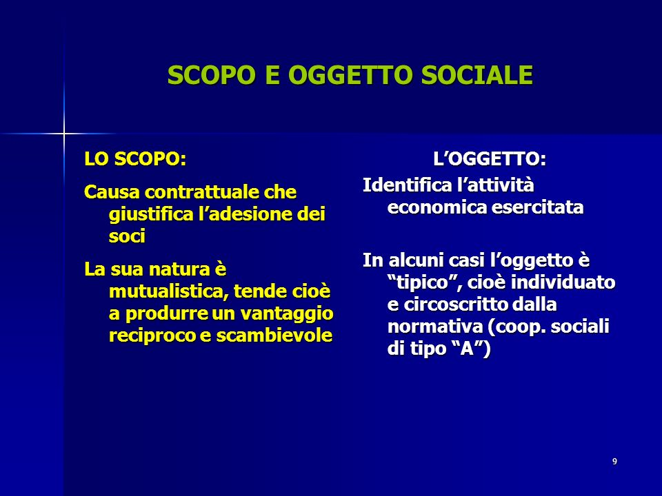 SCOPO E OGGETTO SOCIALE