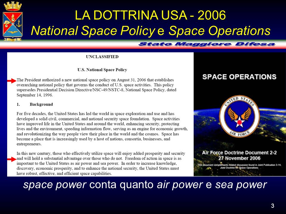 LA DOTTRINA USA - 2006 National Space Policy e Space Operations