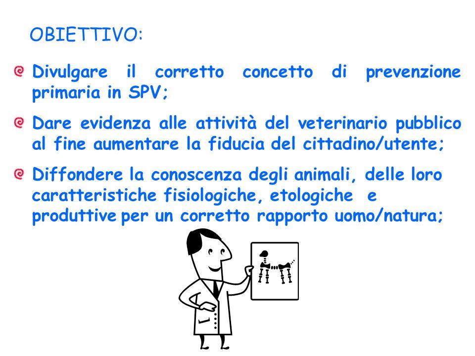OBIETTIVO: Divulgare il corretto concetto di prevenzione primaria in SPV;