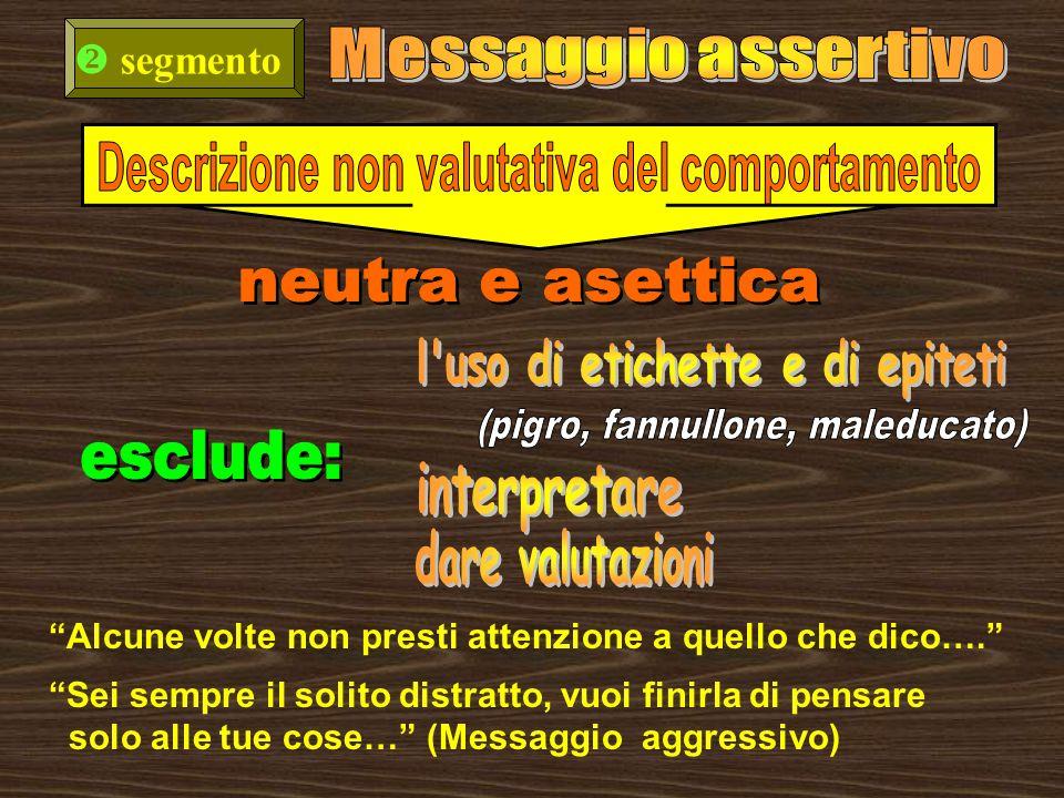 esclude: Messaggio assertivo segmento