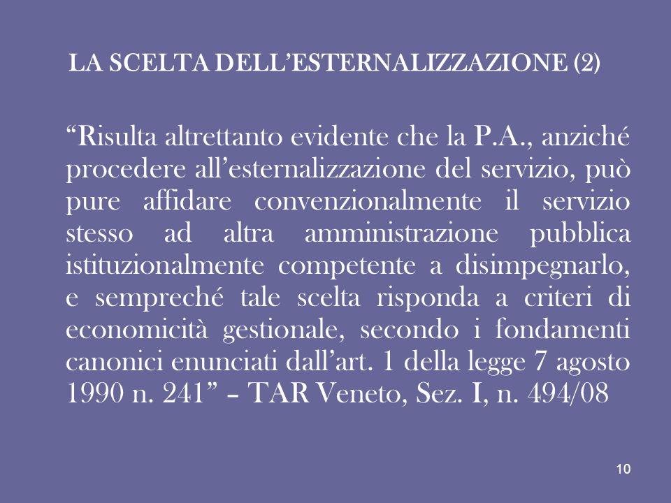 LA SCELTA DELL'ESTERNALIZZAZIONE (2)