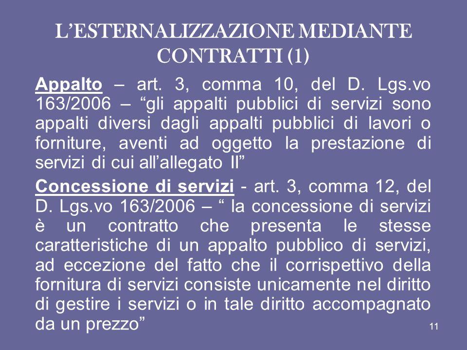 L'ESTERNALIZZAZIONE MEDIANTE CONTRATTI (1)