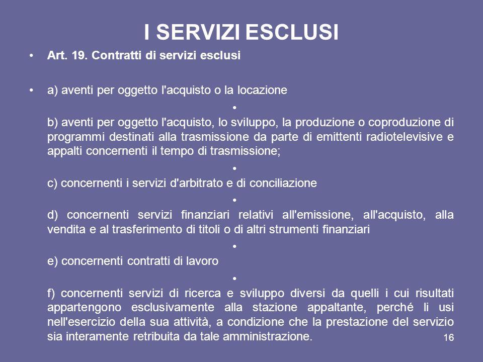 I SERVIZI ESCLUSI Art. 19. Contratti di servizi esclusi