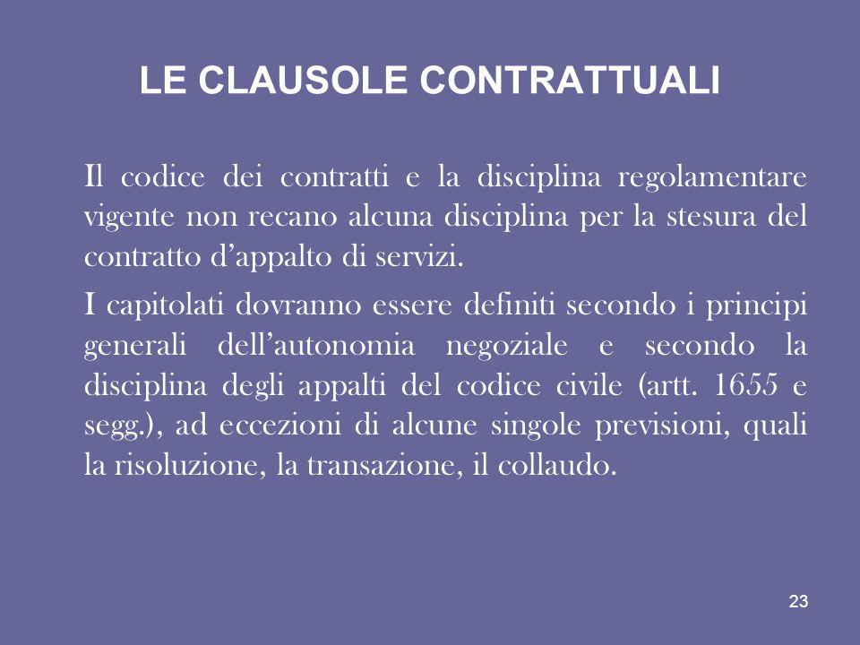 LE CLAUSOLE CONTRATTUALI