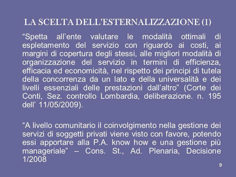 LA SCELTA DELL'ESTERNALIZZAZIONE (1)