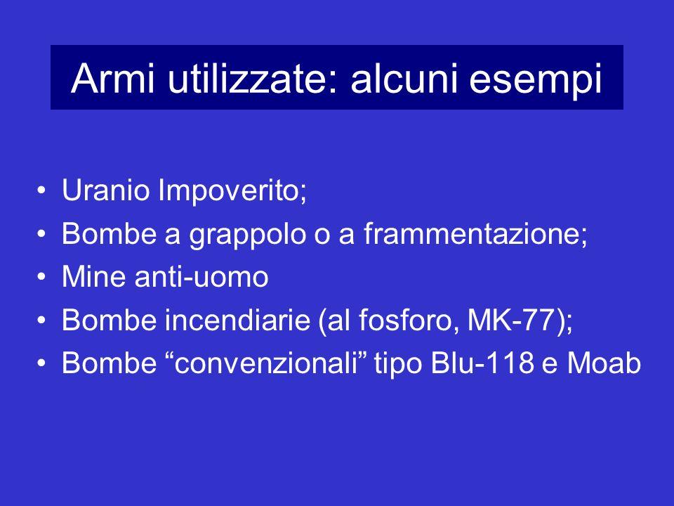 Armi utilizzate: alcuni esempi