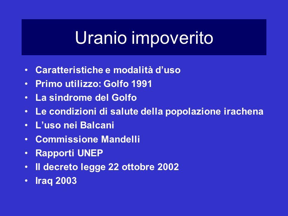 Uranio impoverito Caratteristiche e modalità d'uso