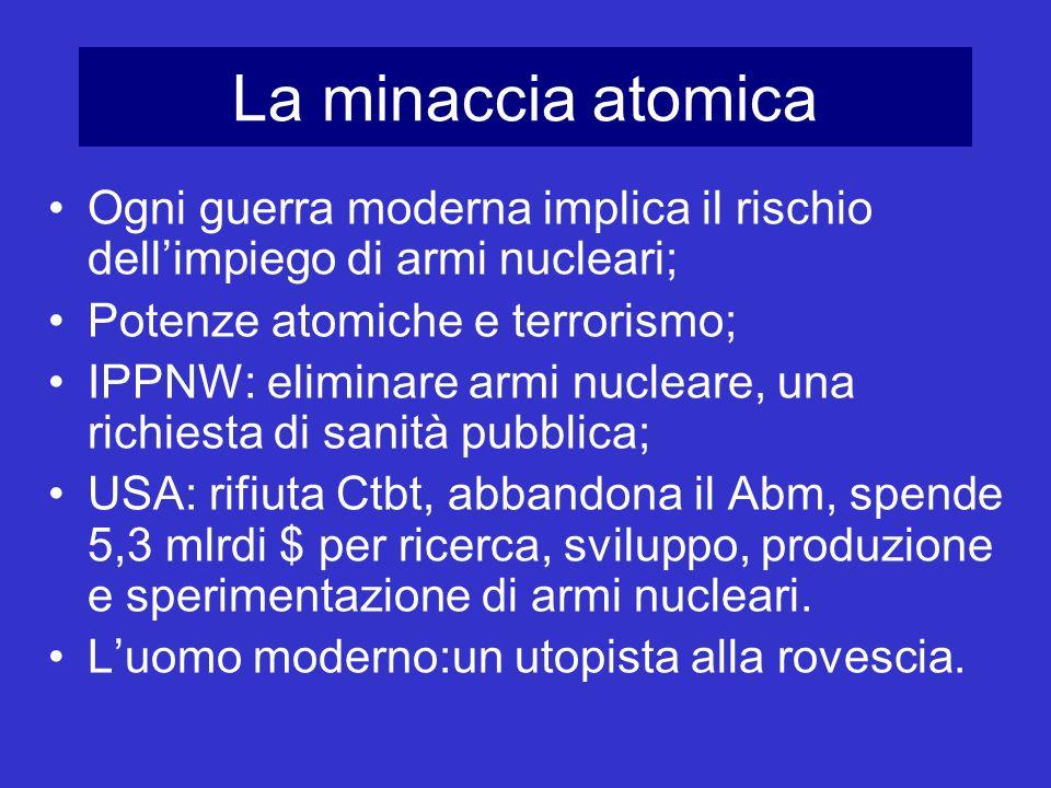 La minaccia atomica Ogni guerra moderna implica il rischio dell'impiego di armi nucleari; Potenze atomiche e terrorismo;
