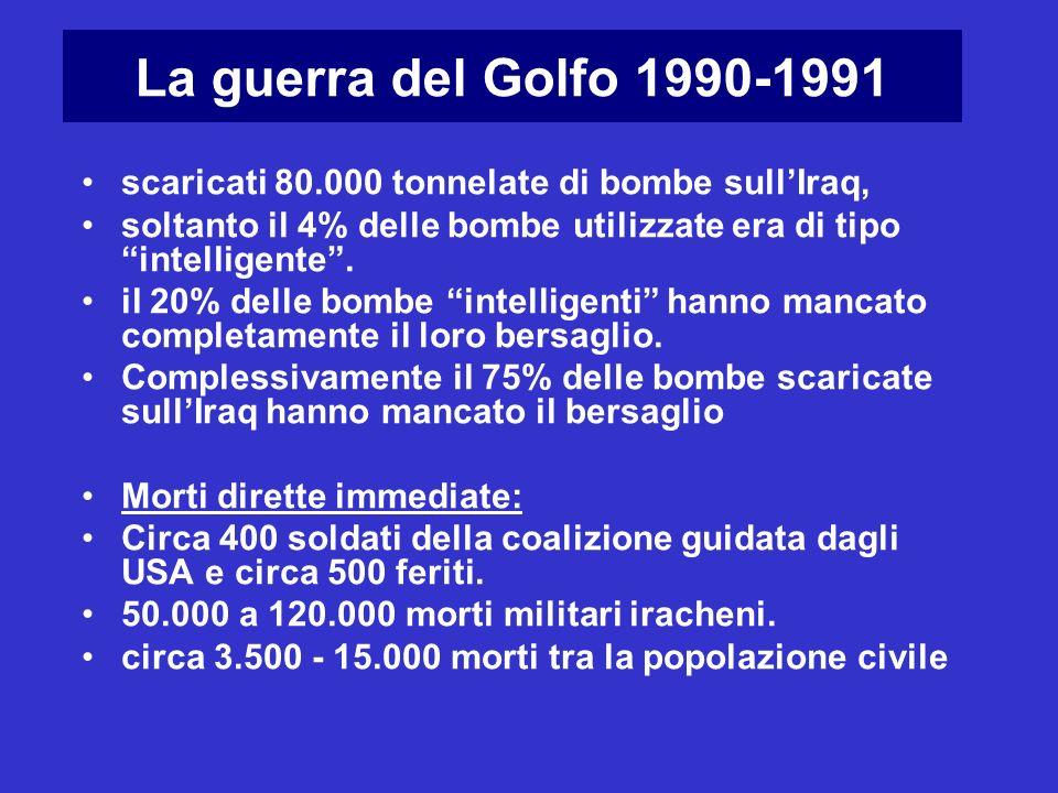 La guerra del Golfo 1990-1991 scaricati 80.000 tonnelate di bombe sull'Iraq, soltanto il 4% delle bombe utilizzate era di tipo intelligente .