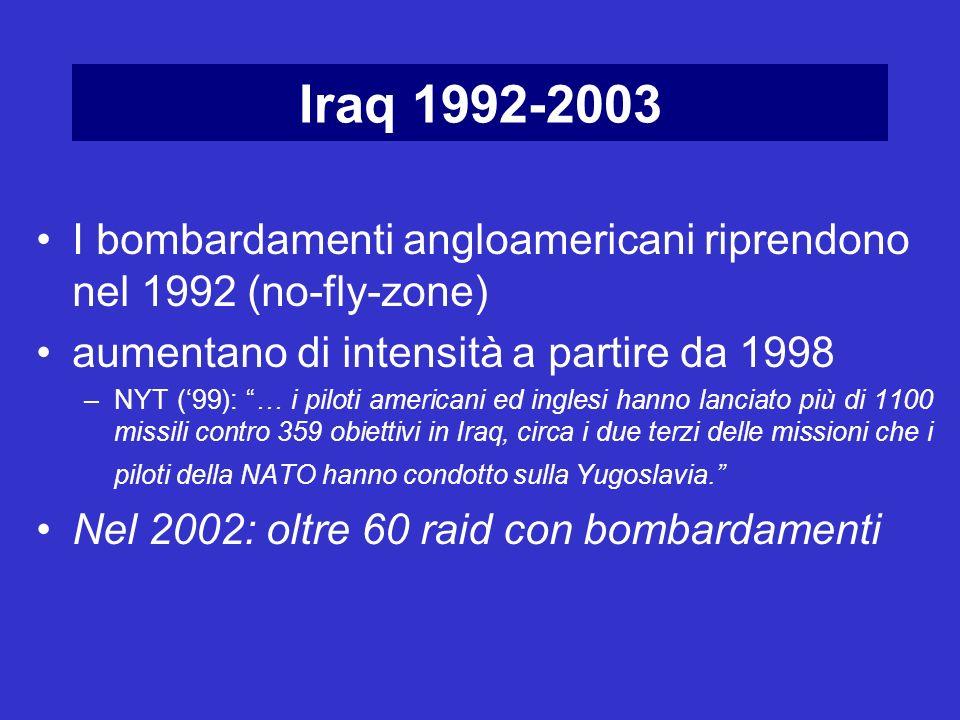Iraq 1992-2003 I bombardamenti angloamericani riprendono nel 1992 (no-fly-zone) aumentano di intensità a partire da 1998.