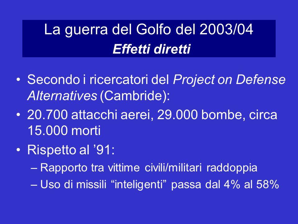 La guerra del Golfo del 2003/04 Effetti diretti