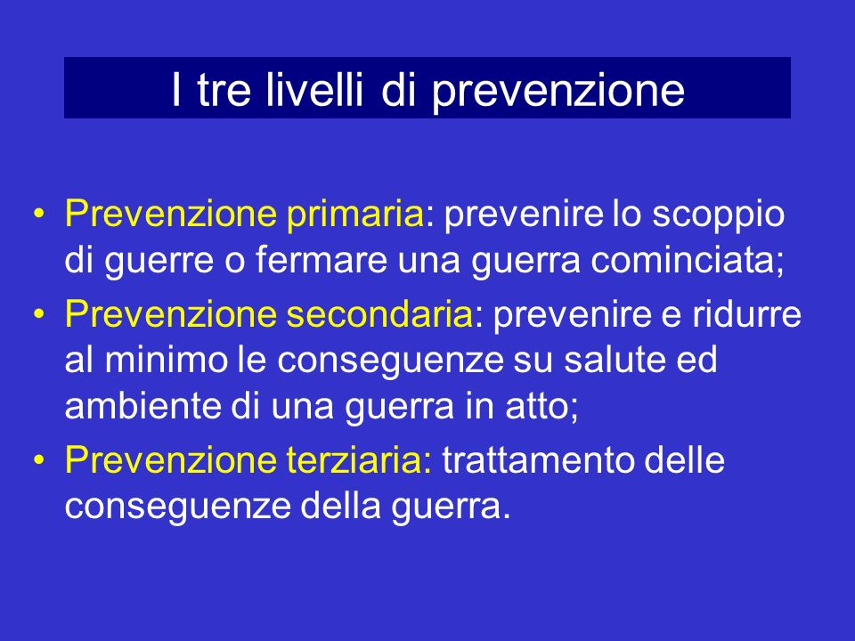I tre livelli di prevenzione