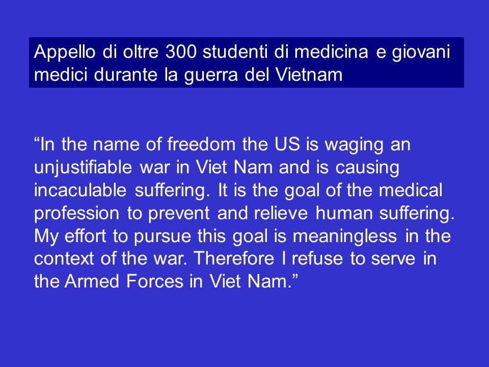 Appello di oltre 300 studenti di medicina e giovani medici durante la guerra del Vietnam